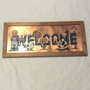 WELCOME Tin Punch Copper Painted Sign Handcrafted